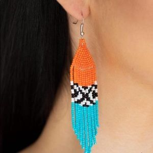 Beaded fish back earrings